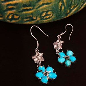 Five-petal flower Earrings blue