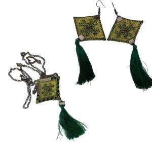 Needle work jewelry green