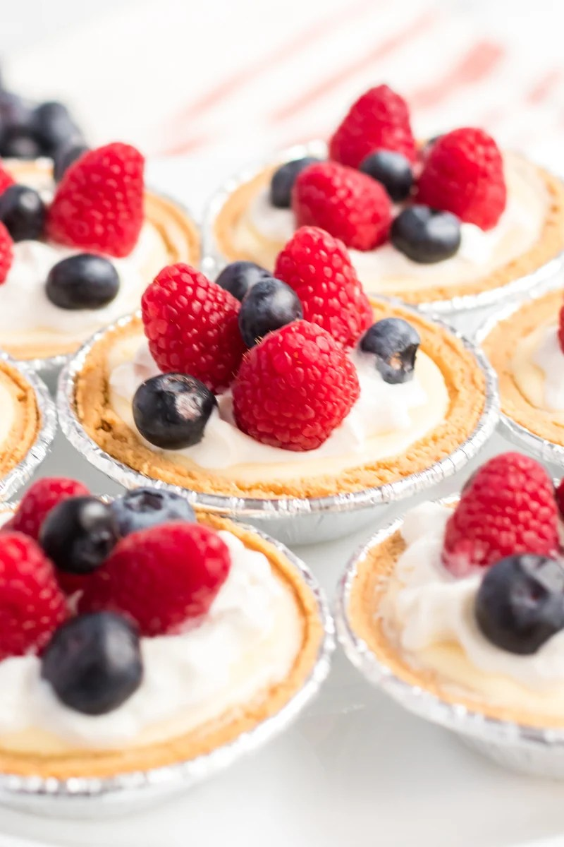 3-Step Mini Cheesecakes are simple, quick, delicious and great for serving at a party. Each mini cheesecake can be topped with your favorite fruit or topping! | www.persnicketyplates.com