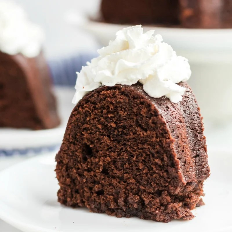 slice of williams sonoma sour cream chocolate bundt cake with whipped cream on white plate