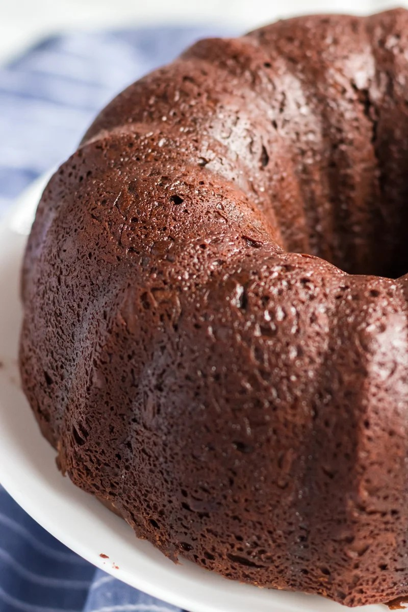 williams sonoma chocolate bundt cake on white platter