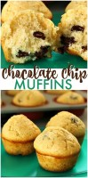 Simple Chocolate Chip Muffins that verge on cupcakes. Acceptable for breakfast but also perfect for dessert.   www.persnicketyplates.com