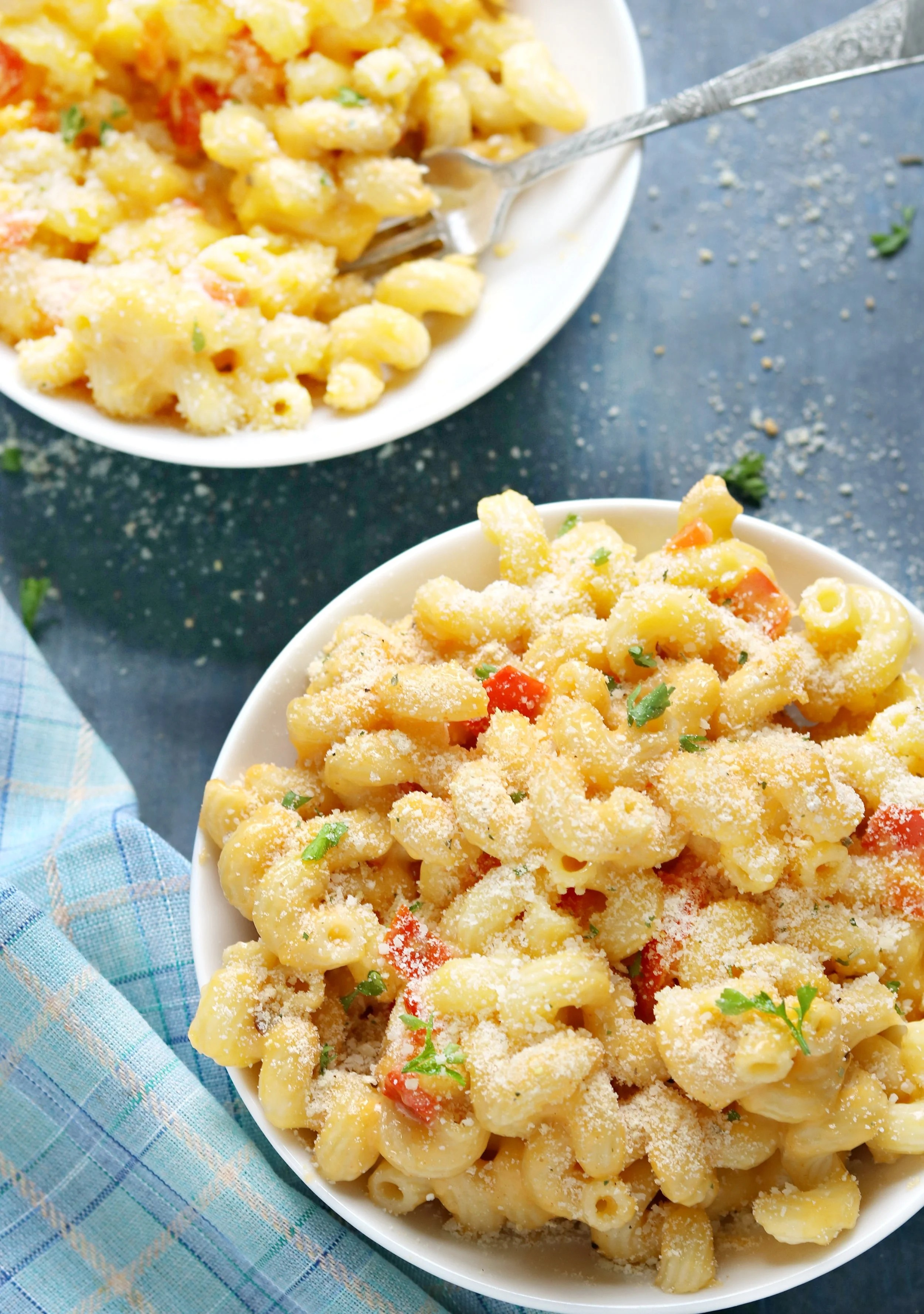 two bowls of macaroni & cheese