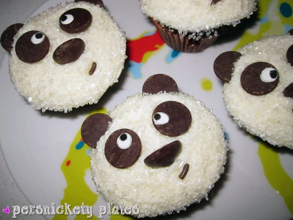 Adorable Chocolate Panda Cupcakes - perfect for a panda themed birthday party or just because!   Persnickety Plates