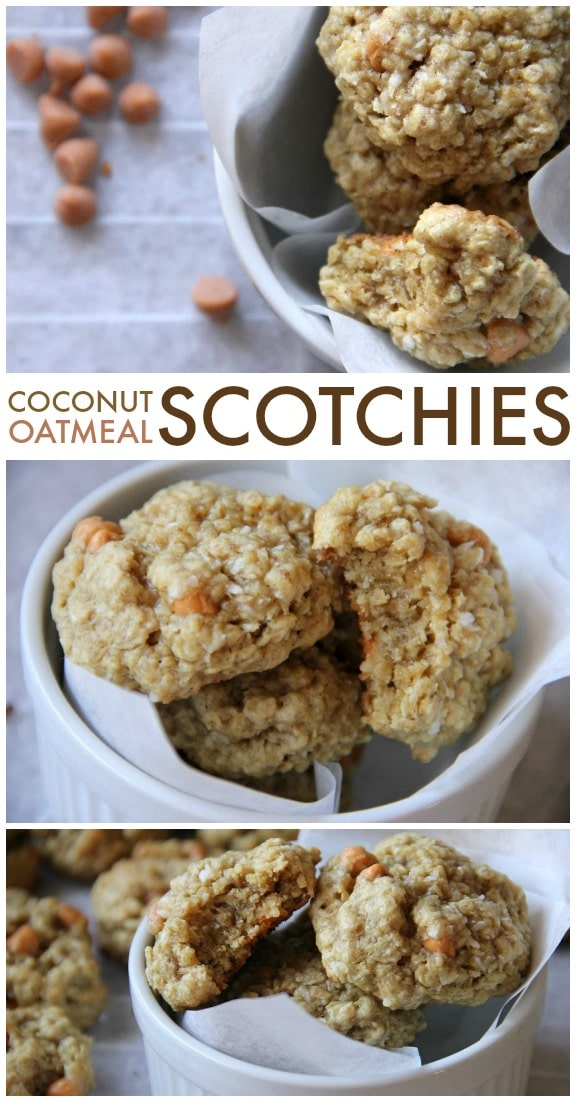 Coconut Oatmeal Scotchies are perfectly chewy yet soft, with chunks of butterscotch and flecks of coconut in every bite!   Persnickety Plates via @pplates