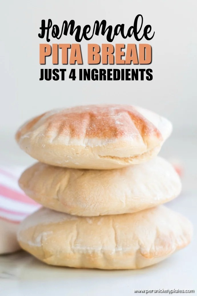Did you know you can make homemade pita bread with just four ingredients that you likely have in your pantry? You can! And it's really good. | www.persnicketyplates.com