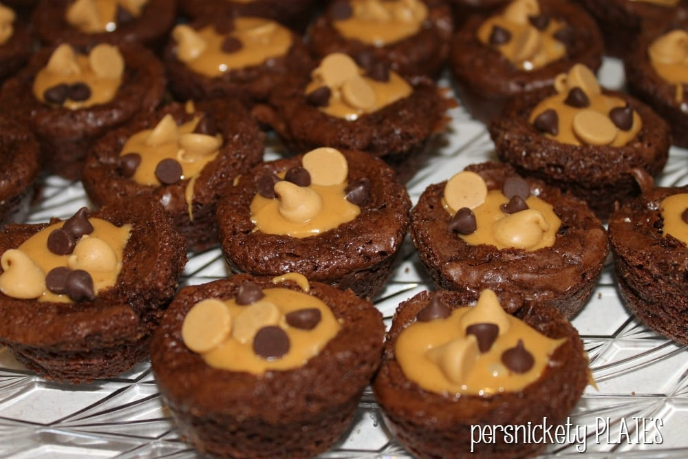 Peanut Butter Brownie Bites couldn't be easier - jazz up your favorite boxed brownie mix with peanut butter to make these bite sized treats.   Persnickety Plates