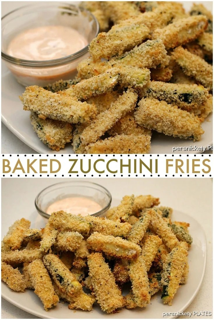 Baked Zucchini Fries are a healthy snack or side dish that you don't have to feel guilty about eating. | Persnickety Plates via @pplates