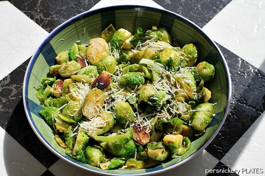 Lemon Garlic Brussels Sprouts   Persnickety Plates
