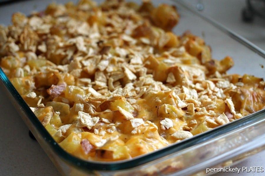 Healthier Cheesy Potato Casserole   Persnickety Plates