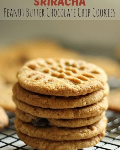 Sriracha Peanut Butter Chocolate Chip Cookies are a spicy twist on a classic cookie.
