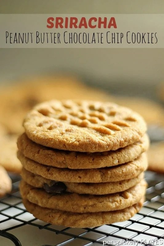 Sriracha Peanut Butter Chocolate Chip Cookies - a spin on the traditional cookie with little kick of heat! | Persnickety Plates