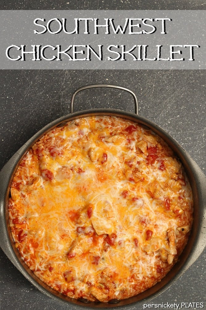 overhead shot of southwest chicken skillet topped with melted cheese