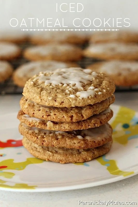 Old Fashioned, soft & chewy Iced Oatmeal Cookies   Persnickety Plates