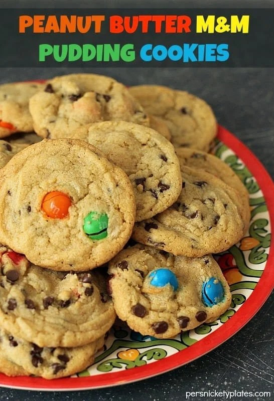 Peanut Butter M&M Pudding Cookies | Persnickety Plates