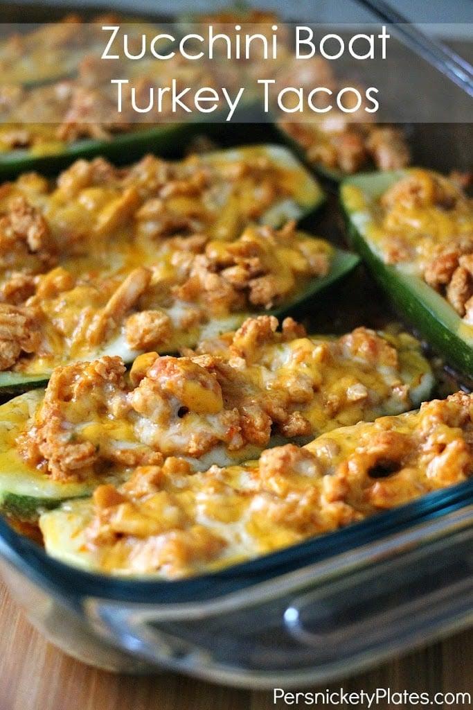 zucchini taco boats in baking dish