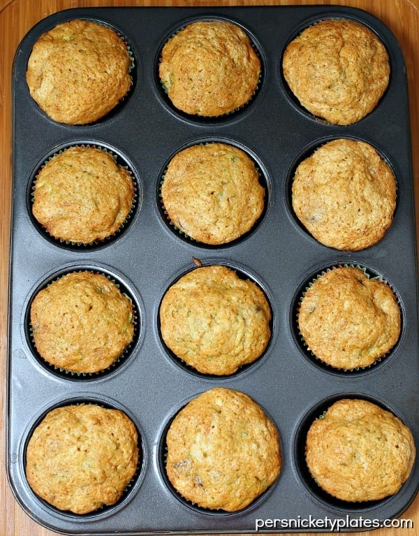 Sweet & moist zucchini muffins with chocolate chips. So, nearly cupcakes. | Persnickety Plates