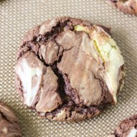 close of of single fudge marble cake mix cookie