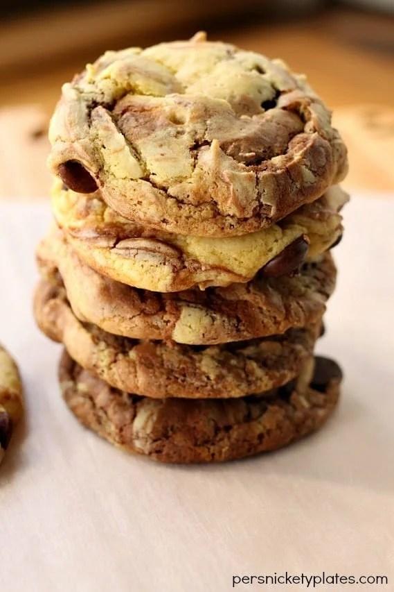 Fudge Marble Cookies - 5 ingredient cake mix cookies   Persnickety Plates