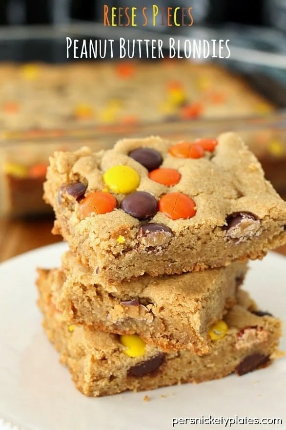 Reese's Pieces Peanut Butter Blondies | Persnickety Plates