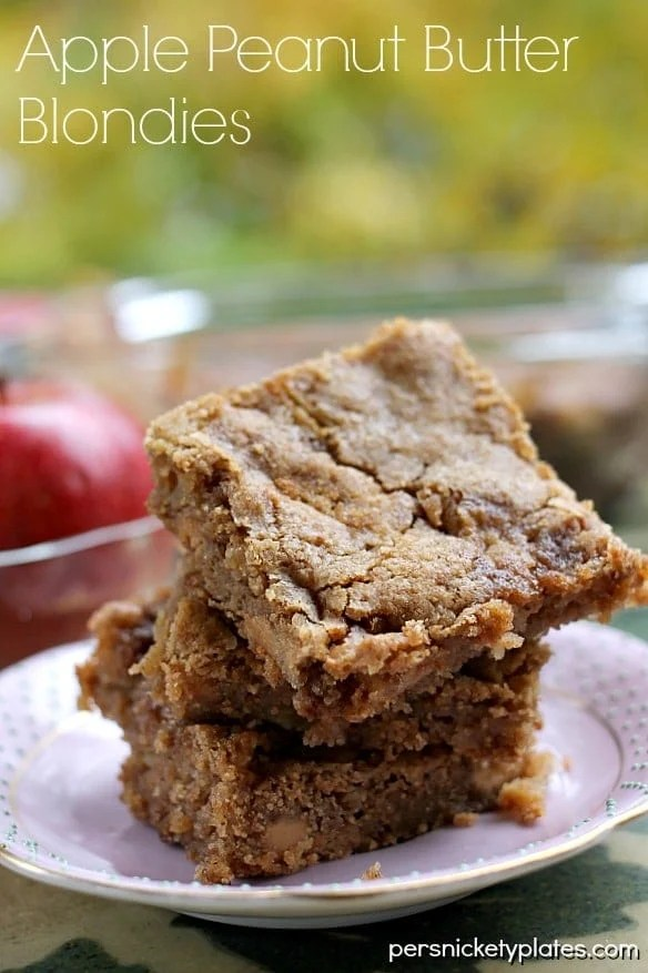 Apple Peanut Butter Blondies | Persnickety Plates