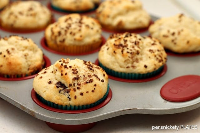 Cream Cheese Chocolate & Peanut Butter Chip Muffins {Persnickety Plates}