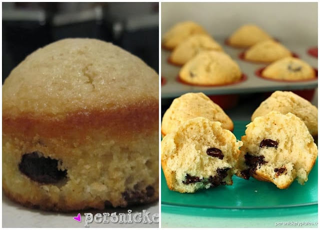 Simple Chocolate Chip Muffins that verge on cupcakes. Acceptable for breakfast but also perfect for dessert.   Persnickety Plates