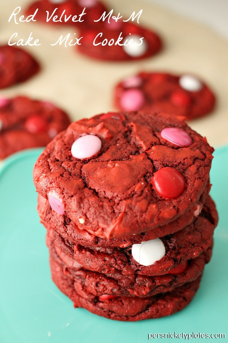 Red Velvet Cake Mix M&M Cookies | Persnickety Plates