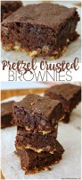Pretzel Crusted Brownies - a layer of pretzel crust topped with a fudgy chocolate chip brownie. Sweet and salty in every perfect bite!   www.persnicketyplates.com