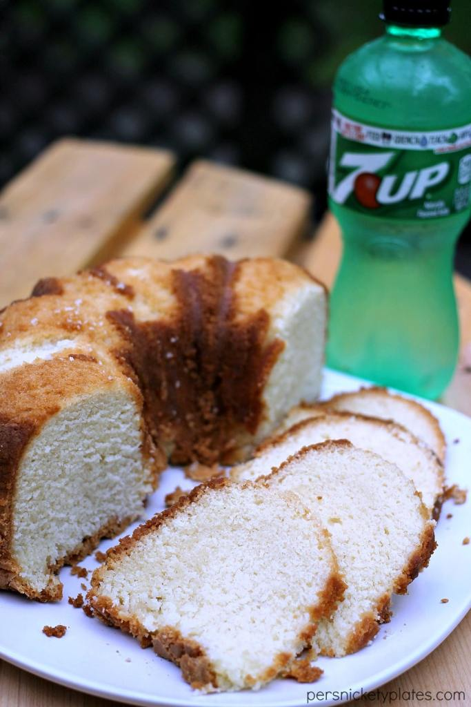 Simple, sweet, moist - 7-Up Pound Cake has a mild citrus flavor and a a moist crumb. This classic pound cake is easy to make and a sure crowd pleaser. | www.persnicketyplates.com