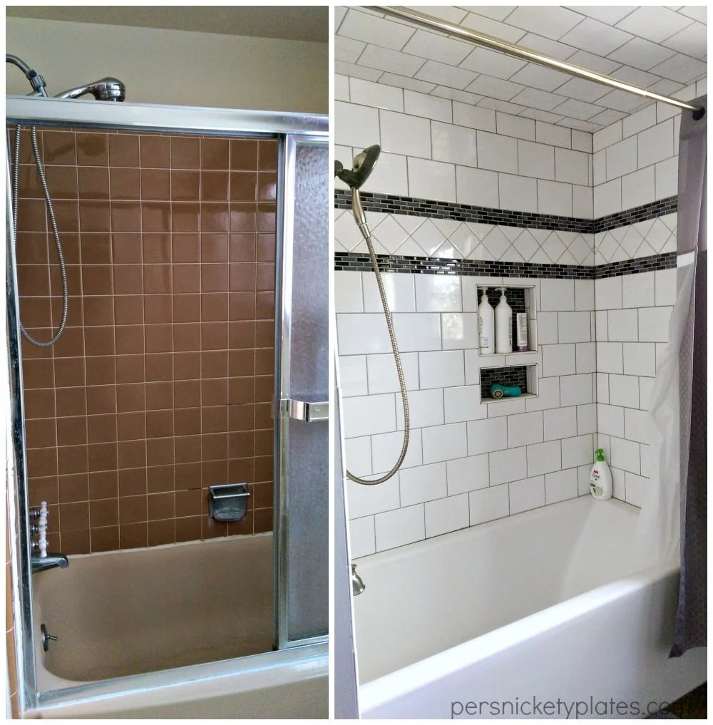 Bathroom Before & After - Shower Tile | Persnickety Plates