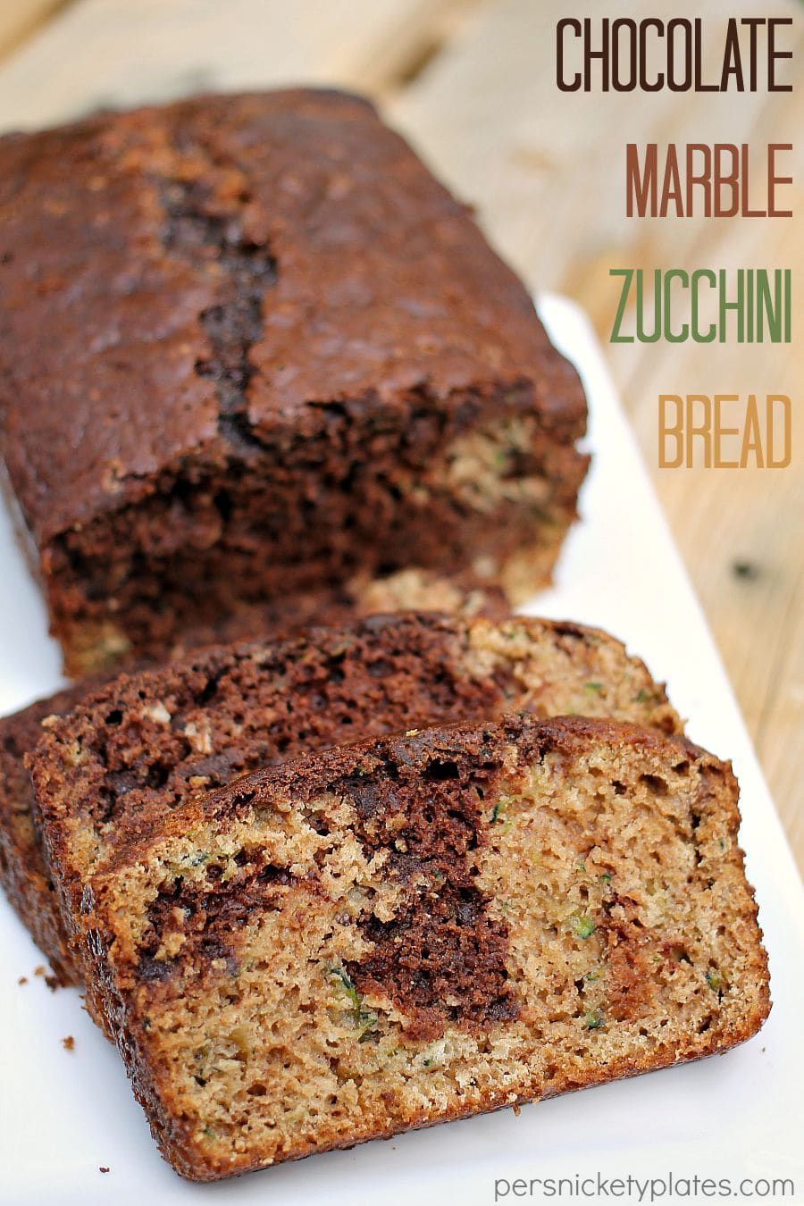 Chocolate Marble Zucchini Bread - give classic zucchini bread an upgrade when you swirl in chocolate batter and mini chocolate chips! | www.persnicketyplates.com via @pplates