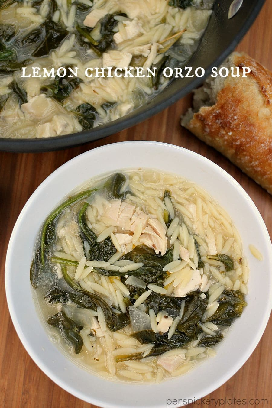 This light and summery Lemon Chicken Orzo Soup is a Panera copycat | Persnickety Plates #SwansonSummer #ad