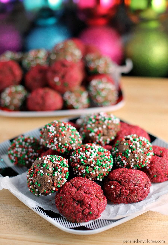 sprinkled chocolate fudge cookie bites on plates