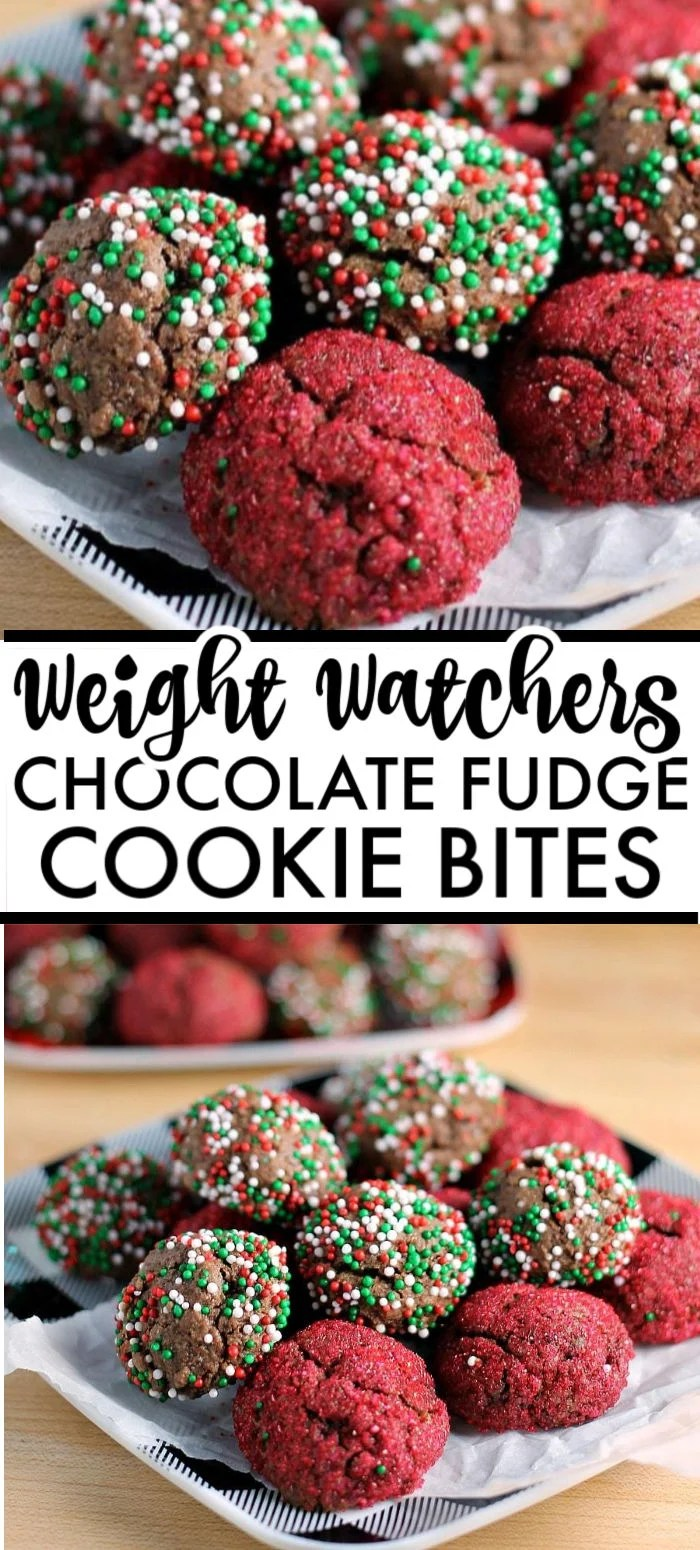 These Sprinkled Chocolate Fudge Cookie Bites are perfect for a cookie swap or to put out on a holiday table. You'd never guess they're Weight Watchers cookies! This lightened up fudge cookie recipe is a nice break from all the indulgences, while still being delicious. via @pplates
