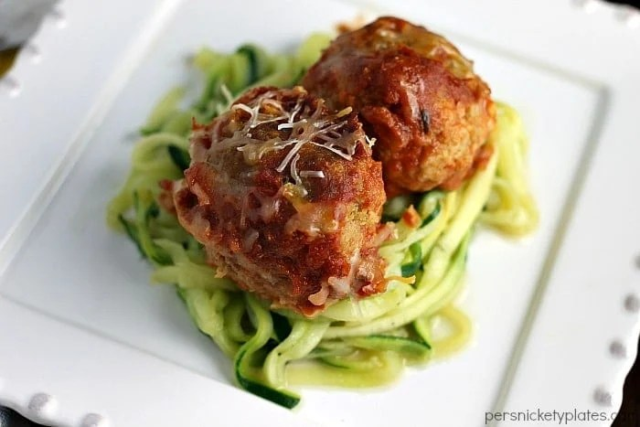 Slow Cooker Cheese Stuffed Turkey Meatballs with Zoodles | Persnickety Plates