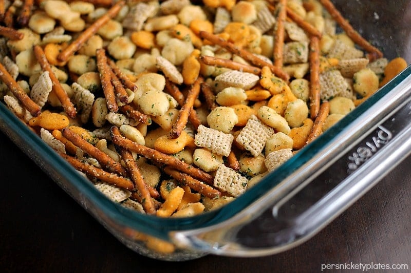 Ranch Cocktail Crackers - a blend of ranch flavored pretzels, goldfish, chex, oyster crackers, etc. Mix it up to include your favorites & it's perfect to munch on at parties!   Persnickety Plates