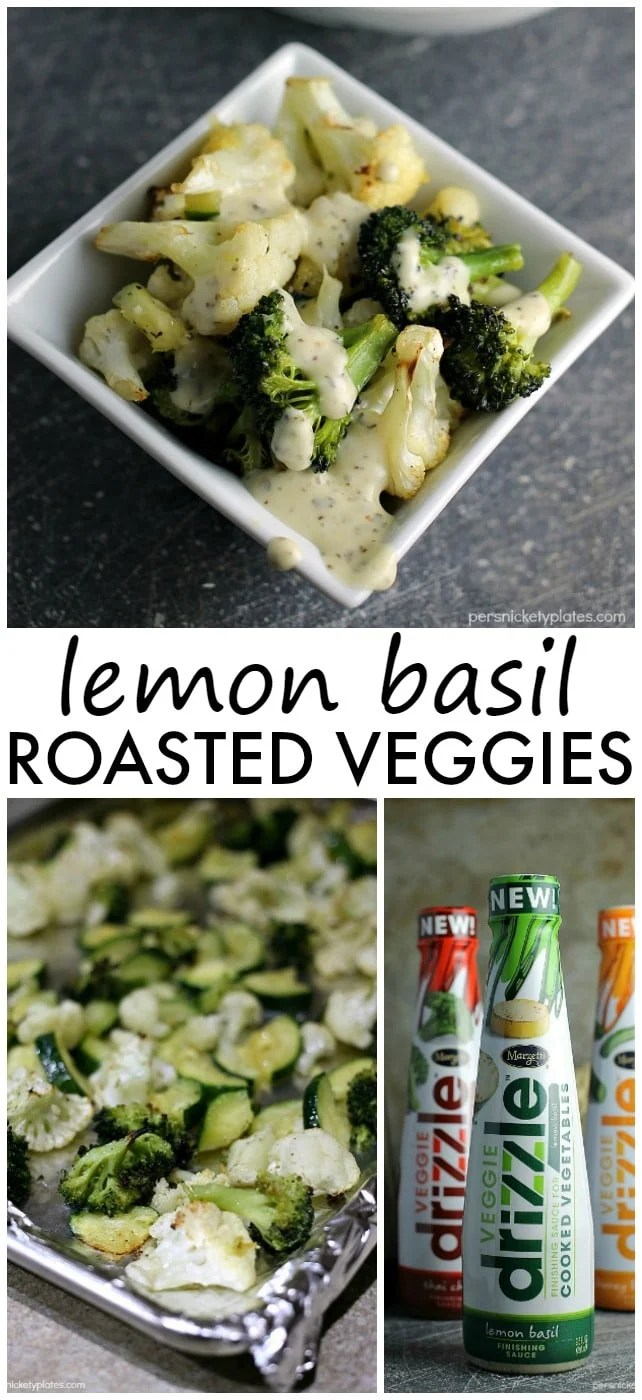 Simple blend of roasted broccoli, cauliflower, and zucchini flavored with with dollops of Marzetti Lemon Basil finishing sauce. | Persnickety Plates AD