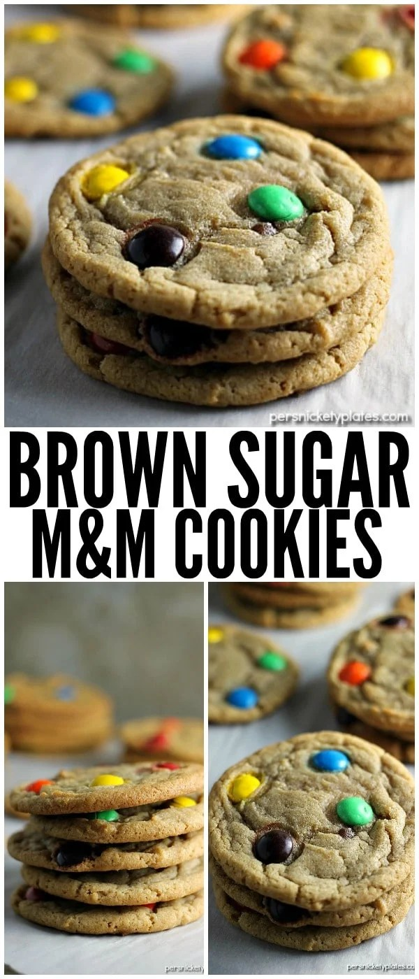 This Brown Sugar M&M Cookie recipe is a fun twist on the traditional sugar cookie that will definitely satisfy your sweet tooth. | www.persnicketyplates.com