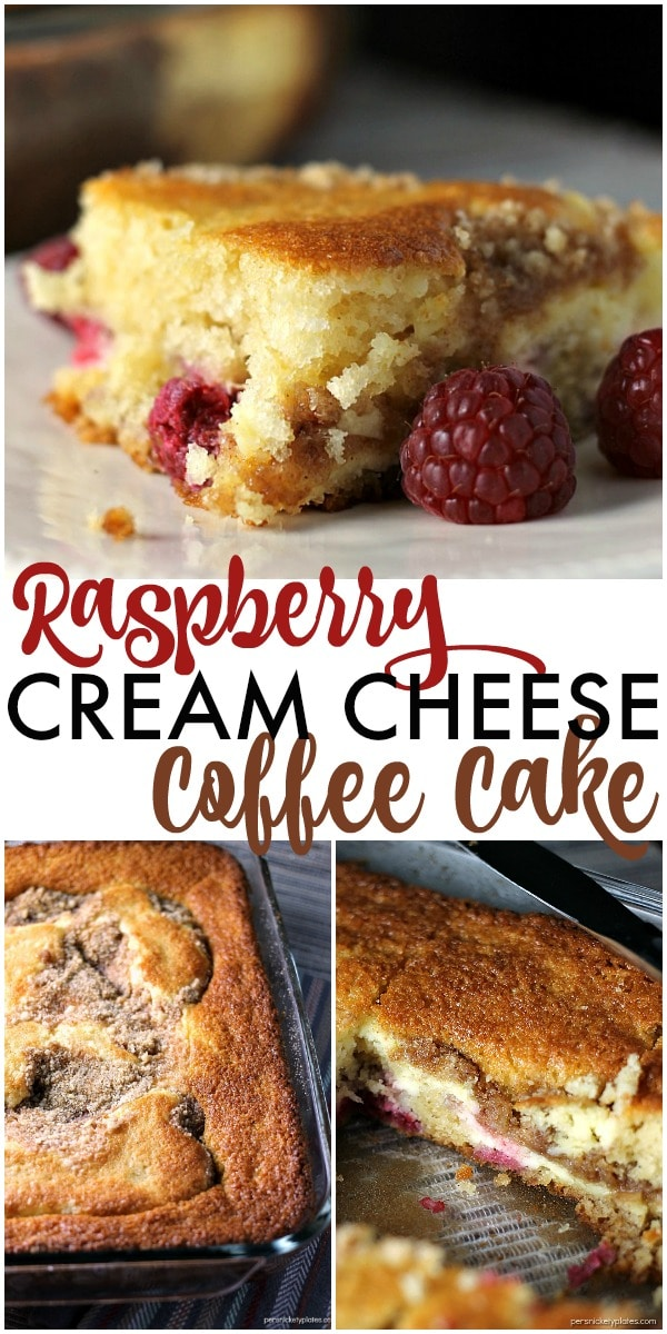 A layer of cake, a layer of raspberries and cream cheese, and a crumb topping come together perfectly in this Raspberry Cream Cheese Coffee Cake. Perfect for Mother's Day! | Persnickety Plates ad #HallmarkJewelry via @pplates