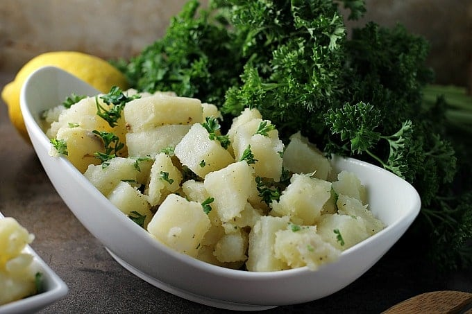 Super simple Arabic Potato Salad only has a few ingredients - potatoes, lemon, oil, garlic, and parsley – but is full of flavor and because there is no mayonnaise, it's great for a picnic!   Persnickety PlatesSuper simple Arabic Potato Salad only has a few ingredients - potatoes, lemon, oil, garlic, and parsley – but is full of flavor and because there is no mayonnaise, it's great for a picnic!   Persnickety Plates