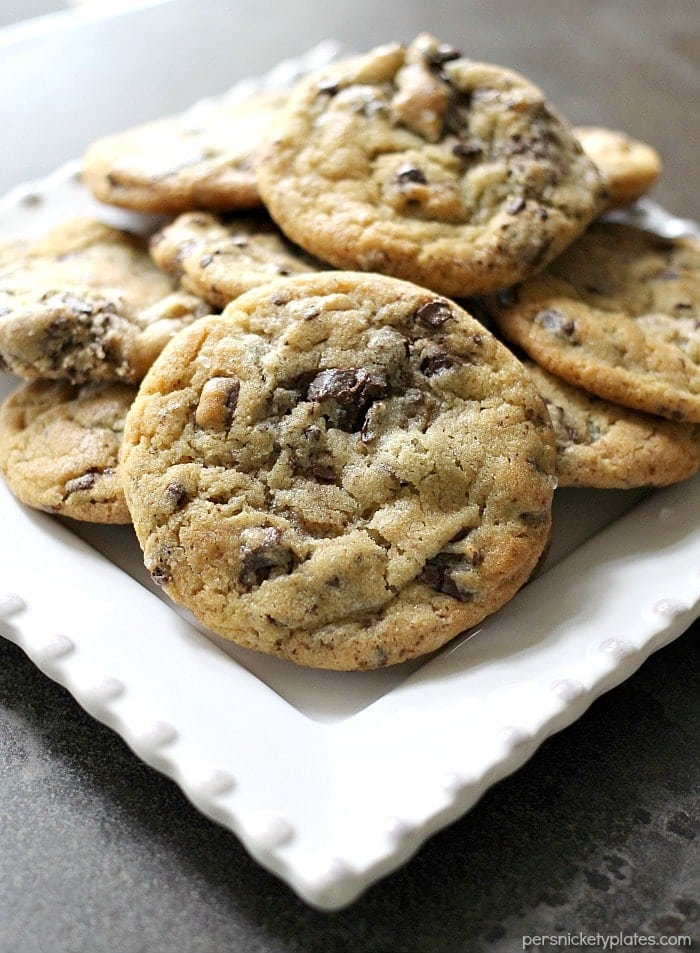 NY Times Chocolate Chips Cookies - practice your patience with these cookies since the dough needs to chill for at least 24 hours but they're worth the wait!   Persnickety Plates