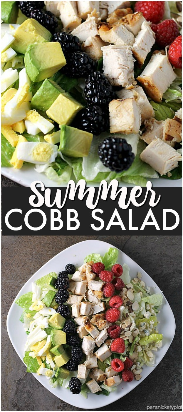 This Summer Cobb Salad comes together in just about 15 minutes! It's full of fresh flavors to kick off your summertime eating. | Persnickety Plates ad