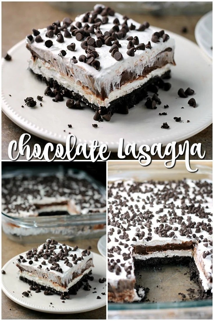 This no bake Chocolate Lush is filled with cream cheese, chocolate pudding, and chocolate chips on top of an Oreo cookie crust - a chocolate lovers dream! | Persnickety Plates