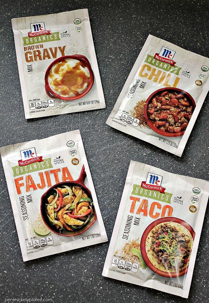 McCormick's Organic gravy mix, chili mix, fajita seasoning, and taco seasoning