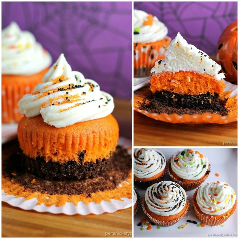 Brownie Bottom Halloween Cupcakes » Persnickety Plates