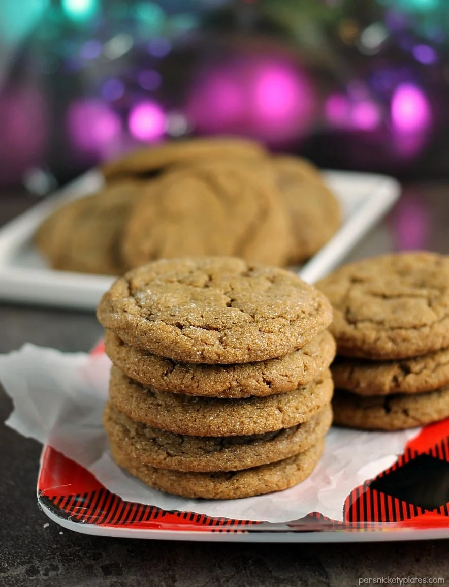 stack of ginger snap cookies on buffalo plaid red plate