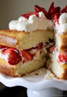 Strawberry Shortcake Cake is a rustic vanilla layer cake filled with a whipped cream cheese frosting and fresh strawberries. Easy, impressive, and SO good! | www.persnicketyplates.com
