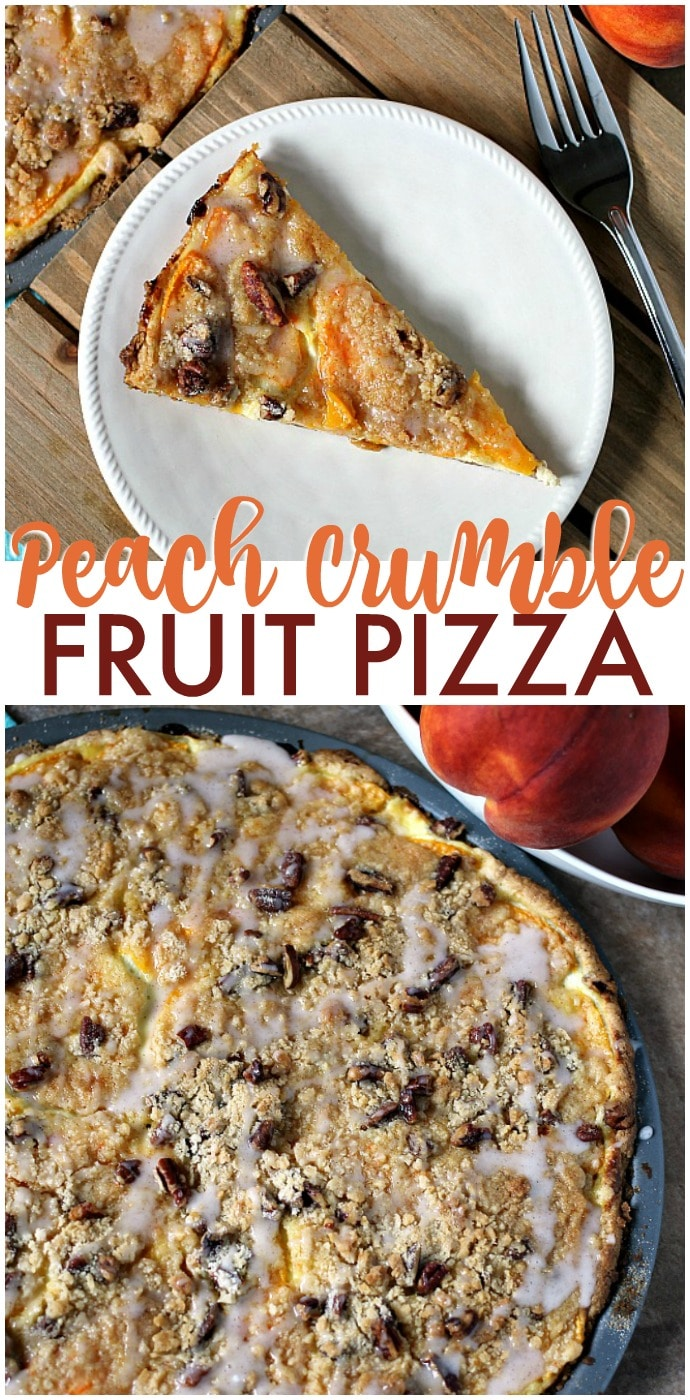 Peach Crumble Fruit Pizza is made on a cake batter crust, piled with thinly sliced fresh peaches, topped with a crumble and pecans and drizzled with a cinnamon sugar glaze. | www.persnicketyplates.com via @pplates