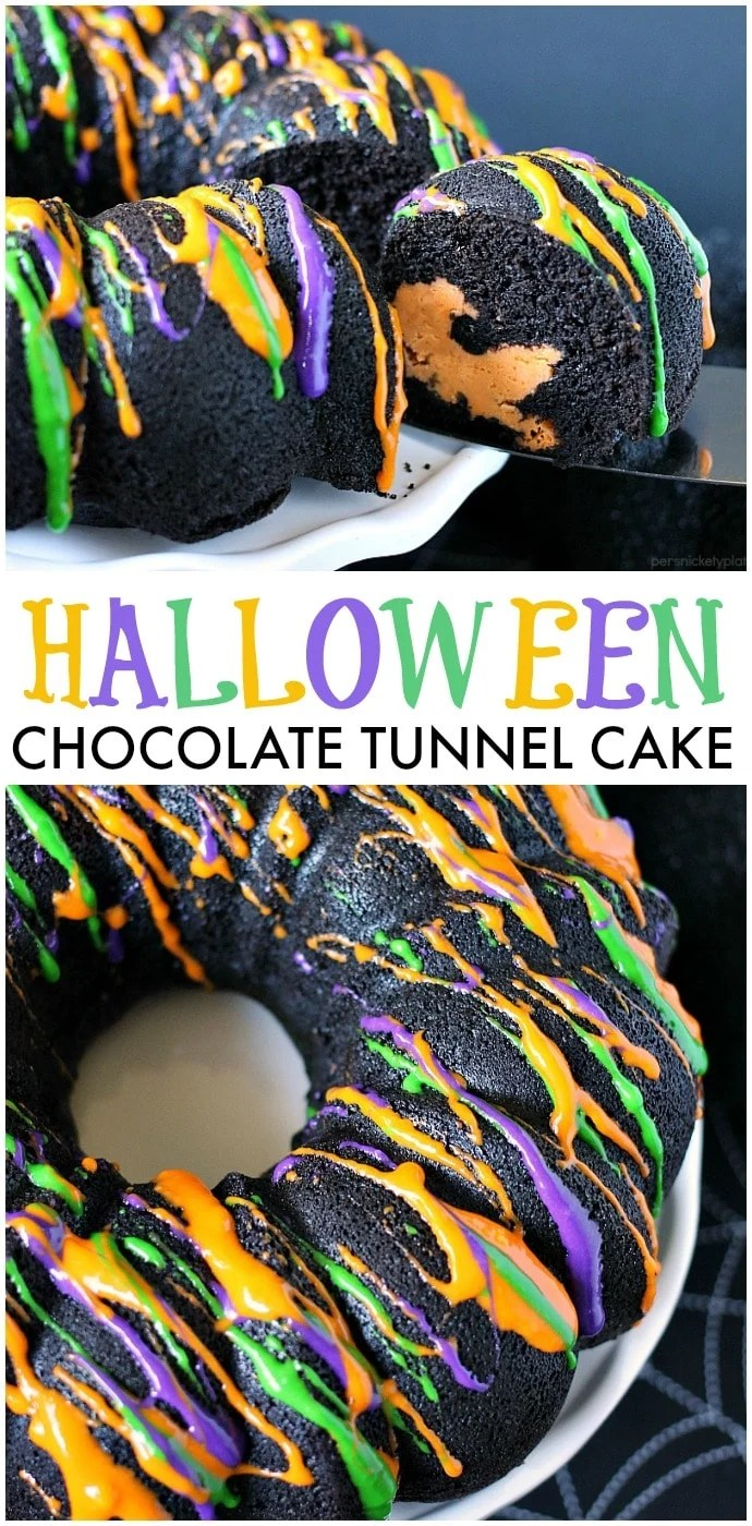 Halloween Chocolate Tunnel Cake is a moist, from scratch, dark chocolate cake filled with a tunnel of orange cheesecake center and drizzled with a cream cheese frosting. Just the right amount of festive and spooky for your Halloween party! | www.persnicketyplates.com via @pplates
